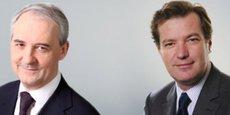 François Pérol (à gauche) a participé à sa dernière conférence de présentation des résultats. Il sera remplacé à la tête de BPCE le 1er juin par Laurent Mignon (à droite), l'actuel directeur général de Natixis.