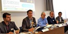 Gilles Leandro, Jérôme Loriot, Jean-Claude Perdigues, Dominique Moniot et Philippe Alexandre : l'équipe dirigeante d'Engie Green donnait une conférence de presse le 15 mai 2018 à Montpellier.