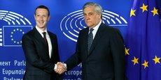 Mark Zuckerberg, Pdg et co-fondateur de Facebook, était reçu ce mardi à Bruxelles par Antonio Tajani, président du Parlement européen.