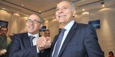 Hakim Marrakchi et Salaheddine Mezouar, lors de l'assemblée élective de la Confédération générale des entreprises du Maroc, tenue mardi 22 mai 2018 à Casablanca.