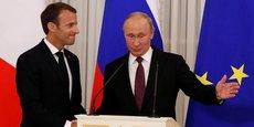 Emmanuel Macron et Vladimir Poutine, à Saint-Pétersbourg jeudi 24 mai 2018.