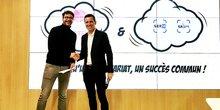 Michael Lalande (French Proptech) et Christophe Pérez (SERM) scellent le projet de construction d'un bâtiment French Proptech à Montpellier