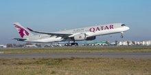 L'A350 de la compagnie Qatar Arways au décollage à Toulouse lundi 22 décembre.