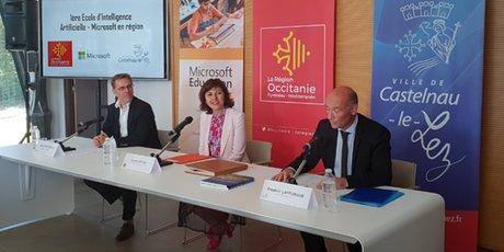 L. Schlosser (Microsoft), C. Delga (Région) et F. Lafforgue (Ville de Castelnau-le-Lez), pour le lancement de l'École IA Microsoft