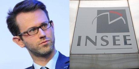 Collage photos Julien Pouget,  chef du département de la conjoncture et logo de l'Insee