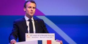 Emmanuel Macron, lors du 42e congrès de la Mutualité française à Montpellier, le 13 juin 2018.