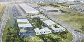 Le village des entreprises (en premier plan), contiendra notamment 12 000 m2 de bureaux.