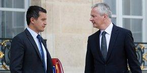 Le ministre des Comptes publics Gérard Darmanin et le ministre de l'Économie Bruno Le Maire dans la cour de l'Élysée, ce 24 septembre.