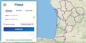 Le site modalis.fr permet de comparer les modes de transport pour des trajets au sein de la Nouvelle-Aquitaine.