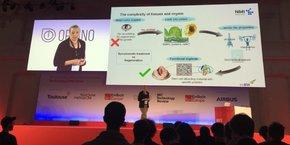 Responsable de recherche à l'Université de Tübingen en Allemagne, Svenja Hinderer présente à la conférence toulousaine d'Emtech des implants de valves cardiaques biodégradables.