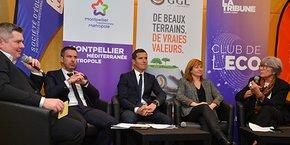 Première table-ronde du Club de l'éco (de gauche à droite) : Anthony Rey, Laurent Villaret, Christophe Perez, Elodie Nourrigat et Chantal Marion.