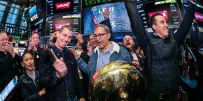 Les dirigeants de Levi Strauss & Co au New York Stock Exchange ce jeudi 21 mars.