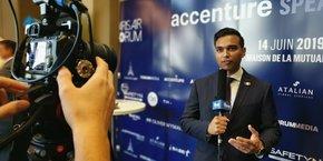 Naveen Poonian, le président de la startup iBASEt a participé à la dernière édition du Paris Air Forum.