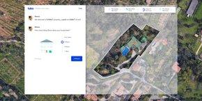 Après que le pavillon ait été identifié, les algorithmes de vision par ordinateur calculent la surface des toits, leur inclinaison, détectent, par exemple, la présence d'une piscine, sa taille  ou encore relèvent la présence d'arbres.