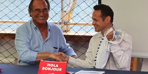 François Commeinhes, maire de Sète, et Yann Monod, directeur général de Renfe-SNCF en Coopération, le 2 juillet 2019.