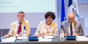 Olivier Dugrip, recteur de l'Académie de Bordeaux, Frédérique Vidal, ministre de l'Enseignement supérieur, de la recherche et de l'innovation, et Manuel Tunon de Lara, le président de l'Université de Bordeaux.