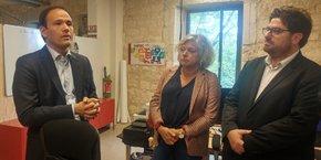 Cédric O, secrétaire d'Etat au Numérique, Dominique David, députée LREM de Gironde, et Gérald Elbaze, directeur général d'Aptic