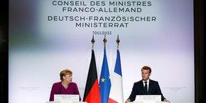 Angela Merkel et Emmanuel Macron, aujourd'hui à Toulouse pour le Conseil ministériel franco-allemand.