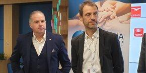 Olivier Chalon (à gauche) passe le relais à Patrick Brusley, nouveau maire du Village by CA Montpellier