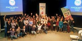 Les candidats, leurs mentors et les membres du jury lors de la phase de qualification de la startup battle du 28 novembre, à Bordeaux.