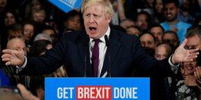 Manchester, le 10 décembre 2019. Boris Johnson, en discours de campagne pour les élections législatives anticipées, qui se tiendront ce jeudi.