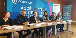 A. Deljarry (CCI 34), entouré des président(e)s des 5 plates-formes Initiative France de l'Hérault