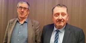 Le vice-président délégué d'Adréa Mutuelle et administrateur du GHM, Denis Philippe (à droite), accompagné par le président du Conseil d'administration du GHM, Edmond Giorgetti (à gauche) reviennent sur les conditions de la cession du GHM.