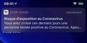 L'alerte que recevront les cas contact, les personnes qui ont été en contact rapproché avec un individu qui s'est révélé positif au Covid-19.