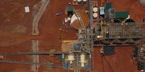 Vue aérienne de la mine de Houndé, situé à 250 km au sud-ouest de la capitale Ouagadougou.