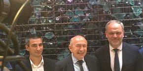 Yann Cucherat, Gérard Collomb et François-Noel Buffet le jour de l'annonce de leur entente