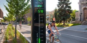 Eco-Compteur développe des outils de mesure du trafic piéton et cycliste, comme ici à Montréal.