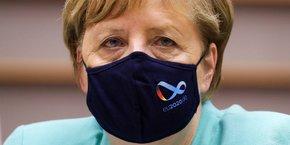 Angela Merkel lors de la session plénière du Parlement européen à Bruxelles, ce mercredi 8 juillet 2020.