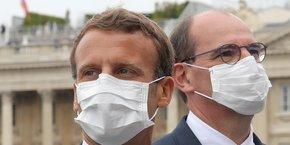 Le Premier ministre Jean Castex en présence du président Emmanuel Macron, lors de la traditionnelle cérémonie du 14 juillet.