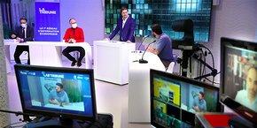 Benoît Viguier (Banque Populaire du Sud), Emmanuel Trouvé (Nereus), Arthur Capon (La Brigade de Véro), lors de la 1e table ronde animée par Guillaume Mollaret.