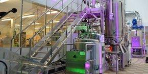 Ligne de production de microalgues.