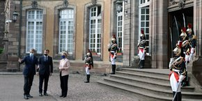 David Sassoli, président du Parlement européen, Emmanuel Macron et Ursula von der Leyen se sont retrouvés à la préfecture du Bas-Rhin pour la signature du Contrat triennal strasbourgeois.