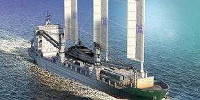 Constitué de mâts ailes rigides, Oceanwings, le système innovant de propulsion éolienne déployé par Ayro, promet de diminuer jusqu'à 45% les émissions de CO2 des navires.