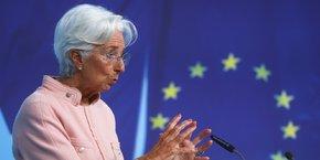 Christine Lagarde, présidente de la Banque centrale européenne (BCE), lors de sa conférence de presse, ce jeudi 9 septembre.