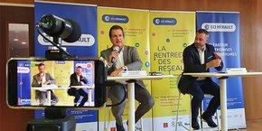 André Deljarry, président de la CCI Hérault, et Grégory Blanvillain, président de la commission des réseaux à la CCI.