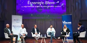 Invités par La Tribune le 28 septembre 2021 : (de gauche à droite) Guillaume Chanussot (Dalkia Méditerranée), Jean-Guy Majourel (Sète Agglopôle Méditerranée), Stéphane Roumeau (Syndicat mixte du bassin de Thau), Gilles Léandro (SOPER) et Maria Ruyssen (Ifremer Hérault).
