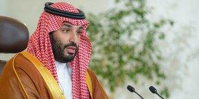 Mohamed Bin Salman, lors de l'ouverture du Forum du Davos du désert. Le prince héritier entend moderniser et diversifier l'économie de son pays pour le rendre moins dépendant des revenus du pétrole.