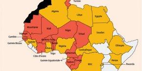 Pays d'implantation (en rouge) et de prospection (en orange) d'Attijariwafa Bank en Afrique, août 2015.