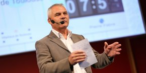 Jean-Jacques Fournié lors de son pitch le 25 septembre aux Espaces Vanel de Toulouse