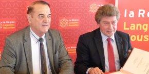 Kléber Mesquida, président du Conseil départemental de l'Hérault et Damien Alary, président du Conseil régional de Languedoc-Roussillon.