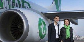 Nathalie Stubler, la PDG de Transavia France et Hervé Kozar, le directeur général adjoint commercial