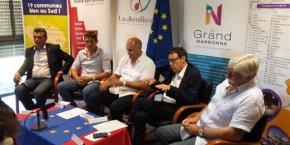G. d'Ettore (Hérault Méditerranée), F. Lacas (Béziers Méditerranée), A. Caralp (La Domitienne), J. Bascou (le Grand Narbonne), G. Barthez (la Région lézignanaise), lors du lancement de l'assocation en 2015
