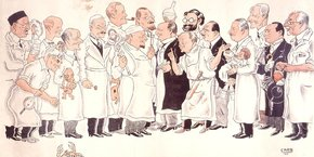 Caricature par Carb représentant des professeurs de la faculté de médecine de Strasbourg en 1931, Librairie de la Mésange (Strasbourg), 1931. Coll. de la BNUS