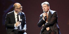 Jean-Claude Gallo, directeur de la publication d'Objectif Languedoc-Roussillon et vice-président de La Tribune, avec François Rivière, président de l'USAP et parrain de la soirée