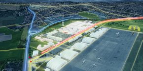 Image de synthèse de la zone de Francazal avec une piste d'essai de 1 km pour l'hyperloop.