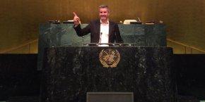 Pierre Alzingre lors de son passage au siège de l'ONU à New York, le 28 février, pour rencontrer les responsables du programme des Global Goals